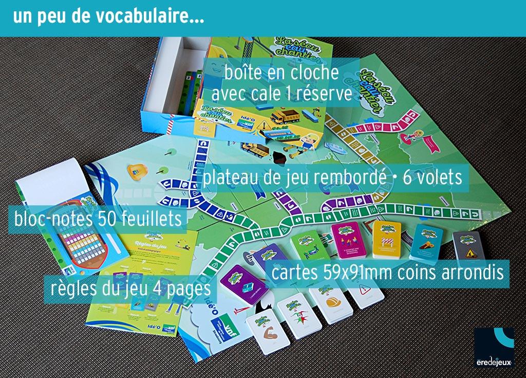 vocabulaire fabrication jeu de plateau